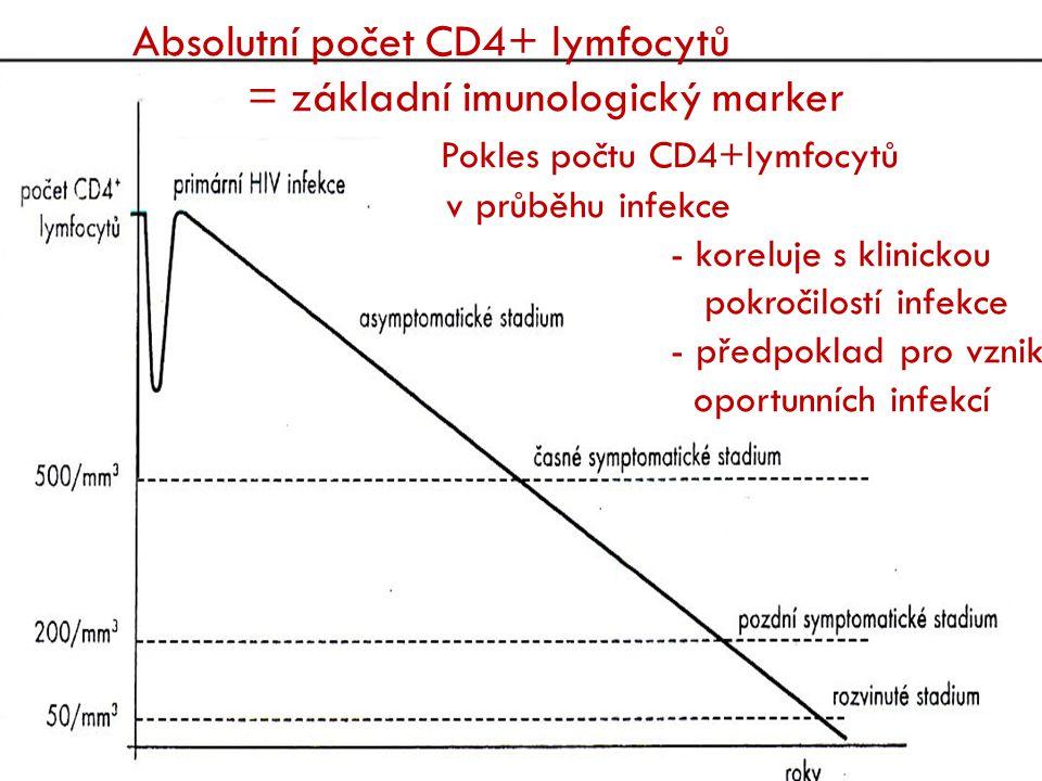 Absolutní počet CD4+ lymfocytů = základní imunologický marker Pokles počtu CD4+lymfocytů v průběhu infekce - koreluje s klinickou pokročilostí infekce - předpoklad pro vznik oportunních infekcí