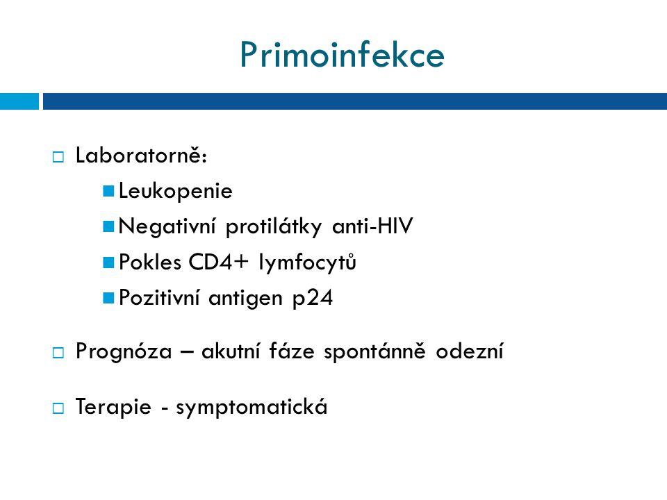 Primoinfekce Laboratorně: Leukopenie Negativní protilátky anti-HIV