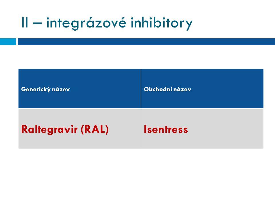 II – integrázové inhibitory