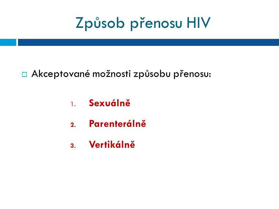 Způsob přenosu HIV Akceptované možnosti způsobu přenosu: Sexuálně
