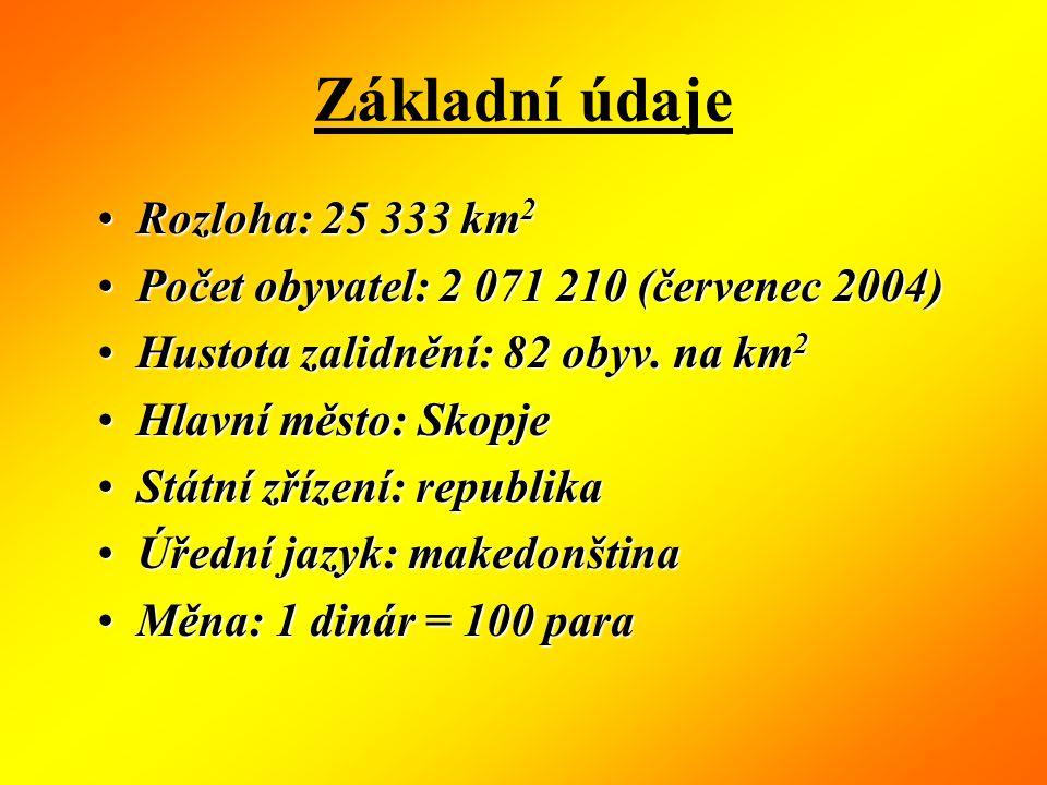 Základní údaje Rozloha: 25 333 km2