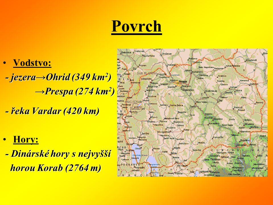 Povrch Vodstvo: - jezera→Ohrid (349 km2) →Prespa (274 km2)