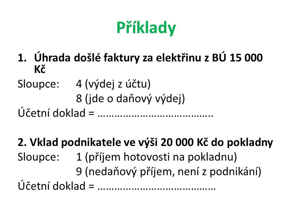 Příklady Úhrada došlé faktury za elektřinu z BÚ 15 000 Kč