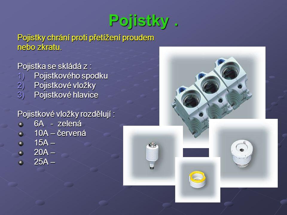 Pojistky . Pojistky chrání proti přetížení proudem nebo zkratu.
