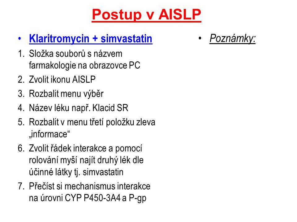 Postup v AISLP Klaritromycin + simvastatin Poznámky: