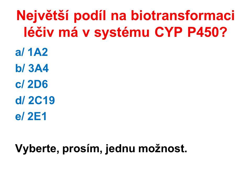 Největší podíl na biotransformaci léčiv má v systému CYP P450