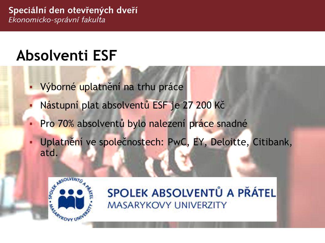 Absolventi ESF Výborné uplatnění na trhu práce