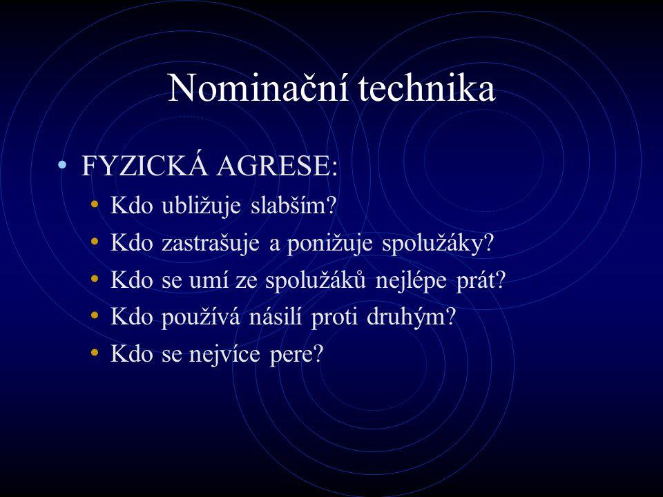 Nominační technika FYZICKÁ AGRESE: Kdo ubližuje slabším