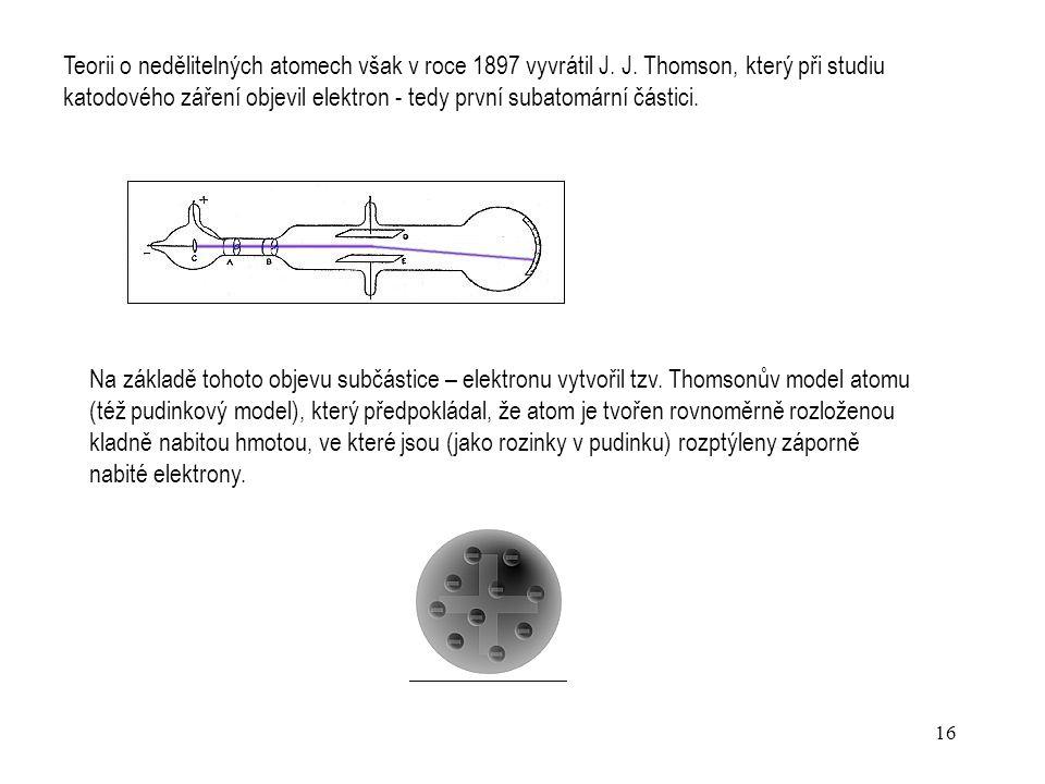 Teorii o nedělitelných atomech však v roce 1897 vyvrátil J. J