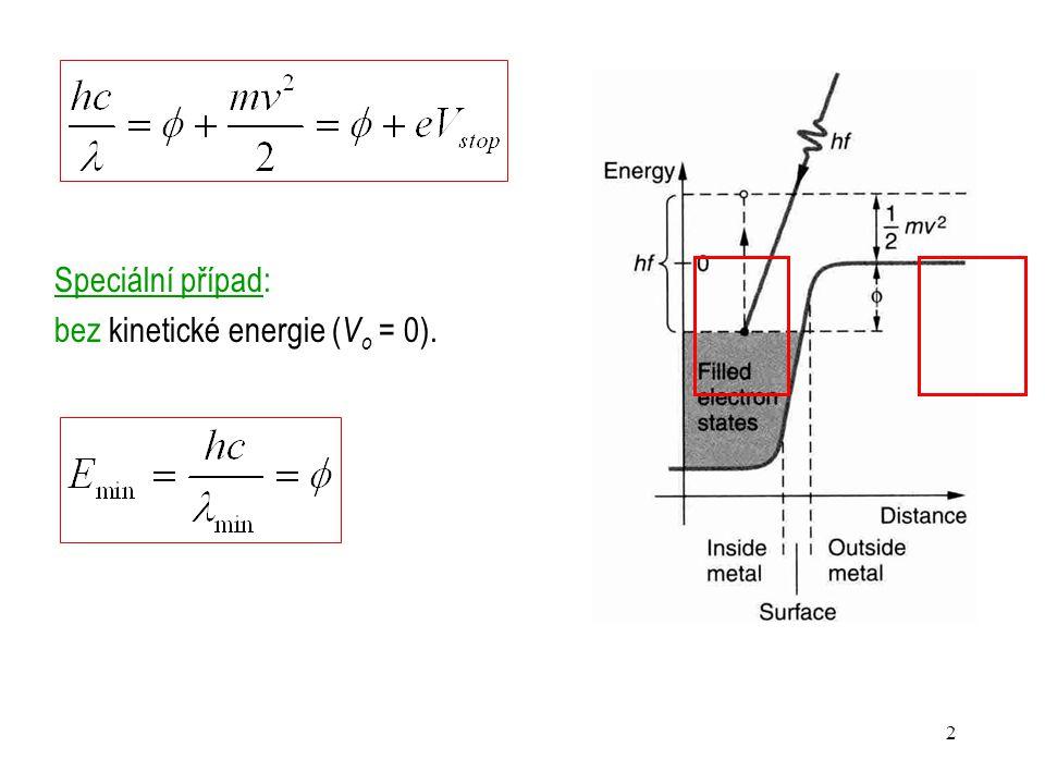Speciální případ: bez kinetické energie (Vo = 0).
