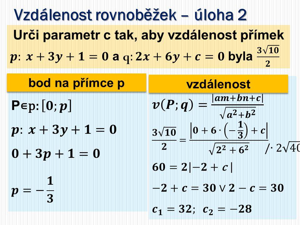 Vzdálenost rovnoběžek – úloha 2