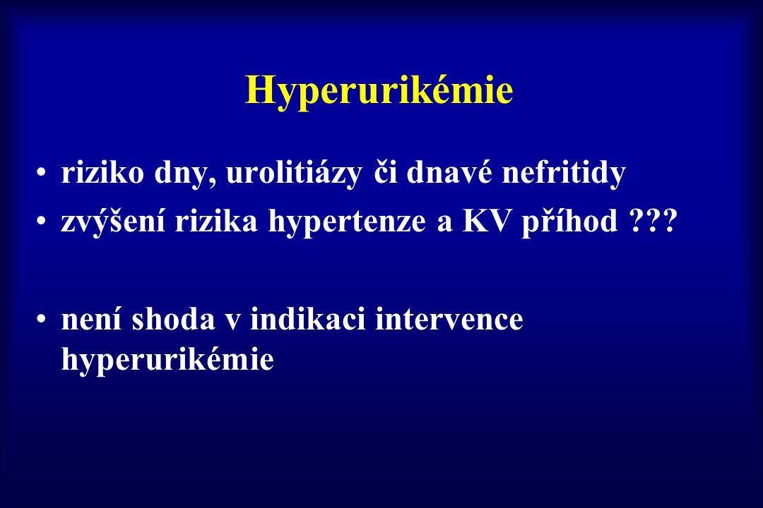 Hyperurikémie riziko dny, urolitiázy či dnavé nefritidy