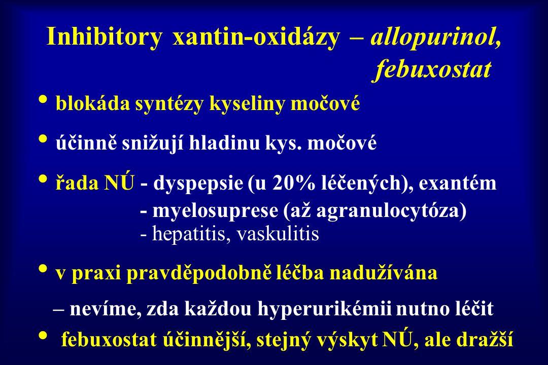 Inhibitory xantin-oxidázy – allopurinol, febuxostat