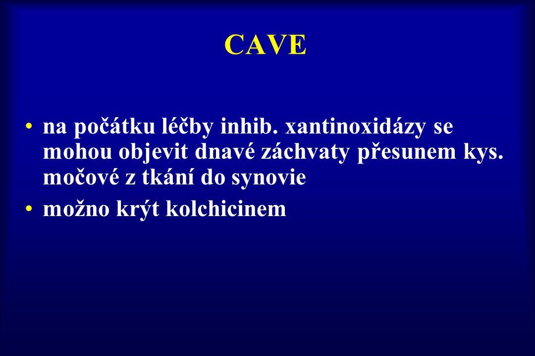 CAVE na počátku léčby inhib. xantinoxidázy se mohou objevit dnavé záchvaty přesunem kys. močové z tkání do synovie.