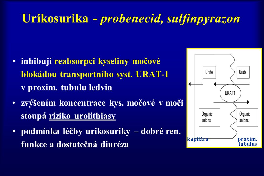 Urikosurika - probenecid, sulfinpyrazon