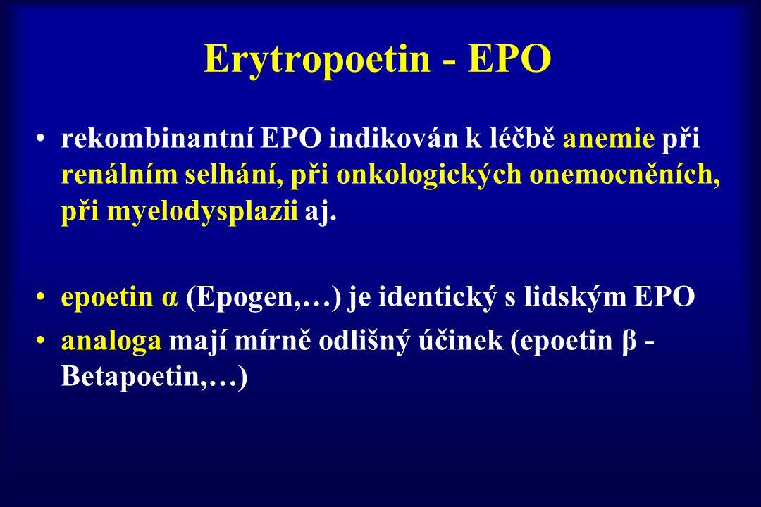 Erytropoetin - EPO rekombinantní EPO indikován k léčbě anemie při renálním selhání, při onkologických onemocněních, při myelodysplazii aj.
