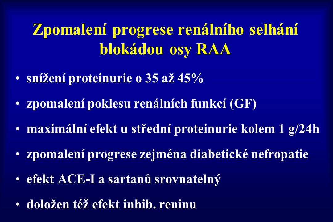 Zpomalení progrese renálního selhání blokádou osy RAA