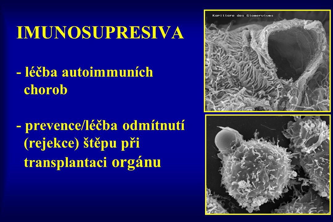 IMUNOSUPRESIVA - léčba autoimmuních chorob - prevence/léčba odmítnutí (rejekce) štěpu při transplantaci orgánu
