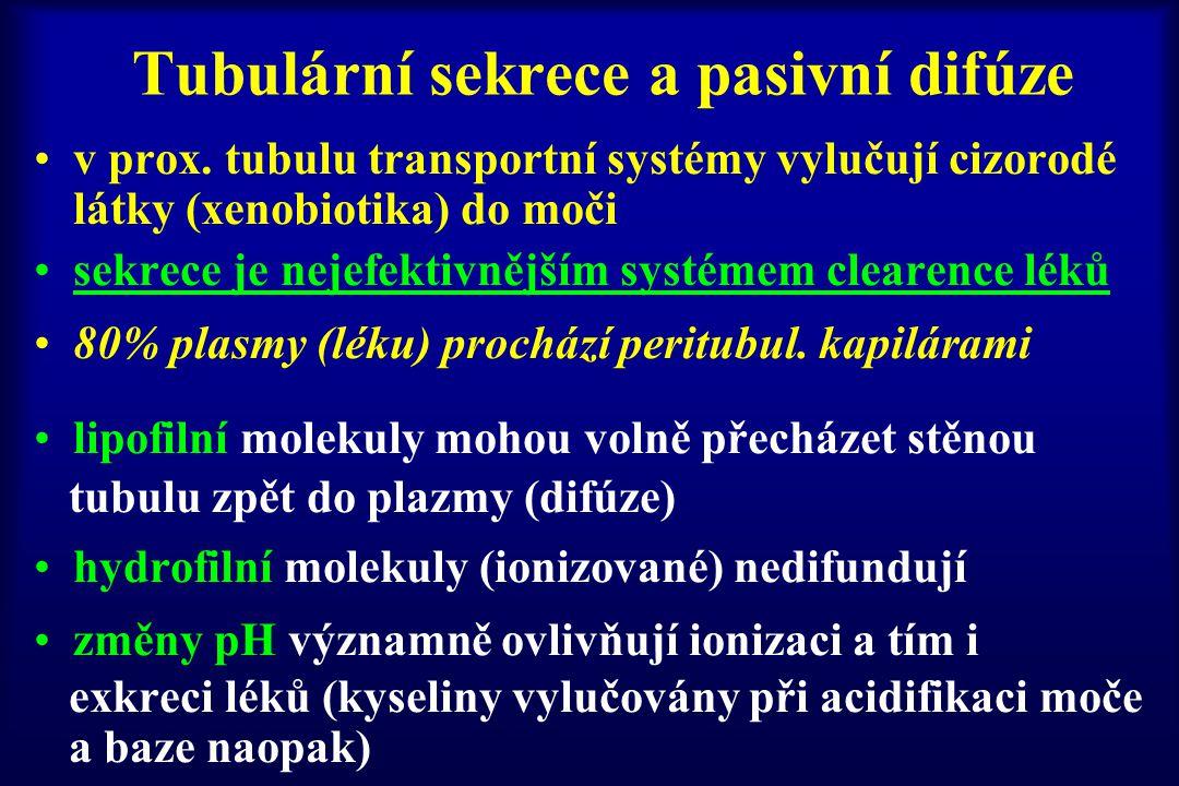 Tubulární sekrece a pasivní difúze
