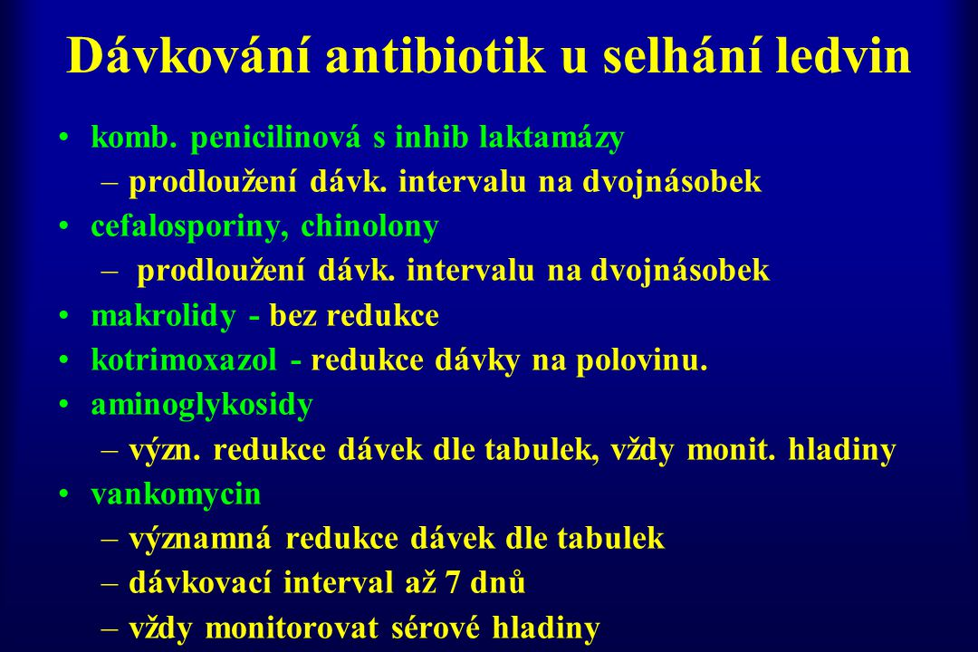 Dávkování antibiotik u selhání ledvin