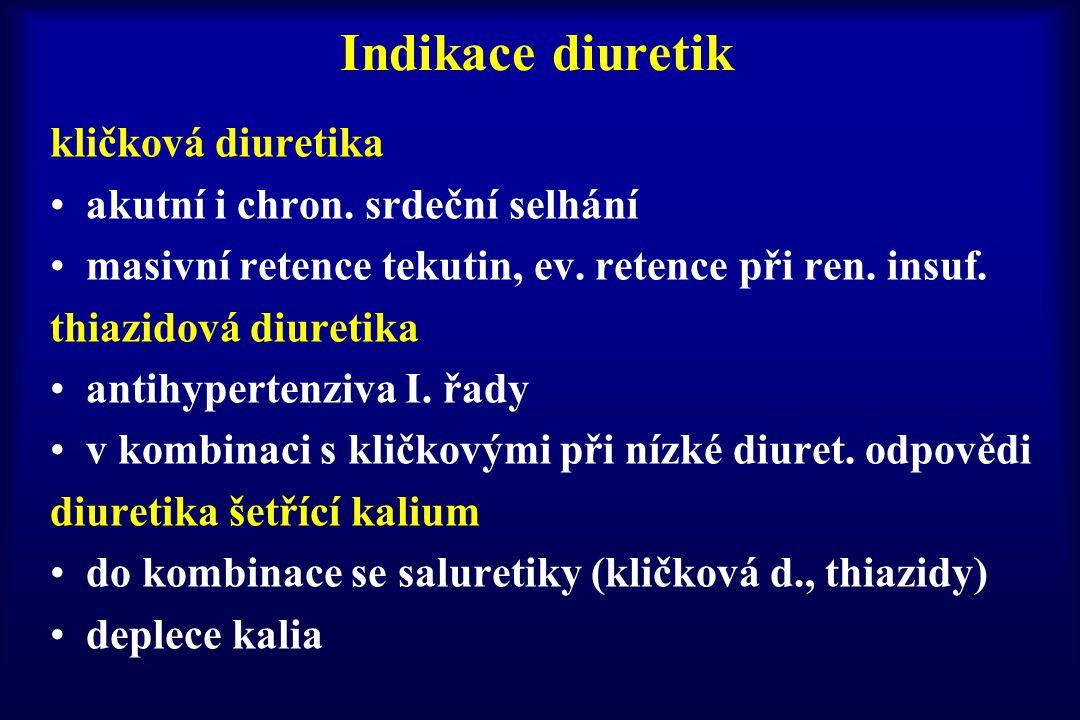Indikace diuretik kličková diuretika akutní i chron. srdeční selhání