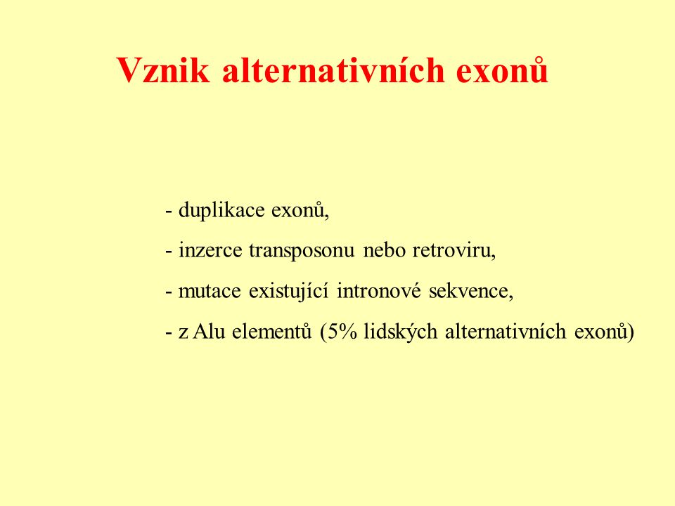 Vznik alternativních exonů