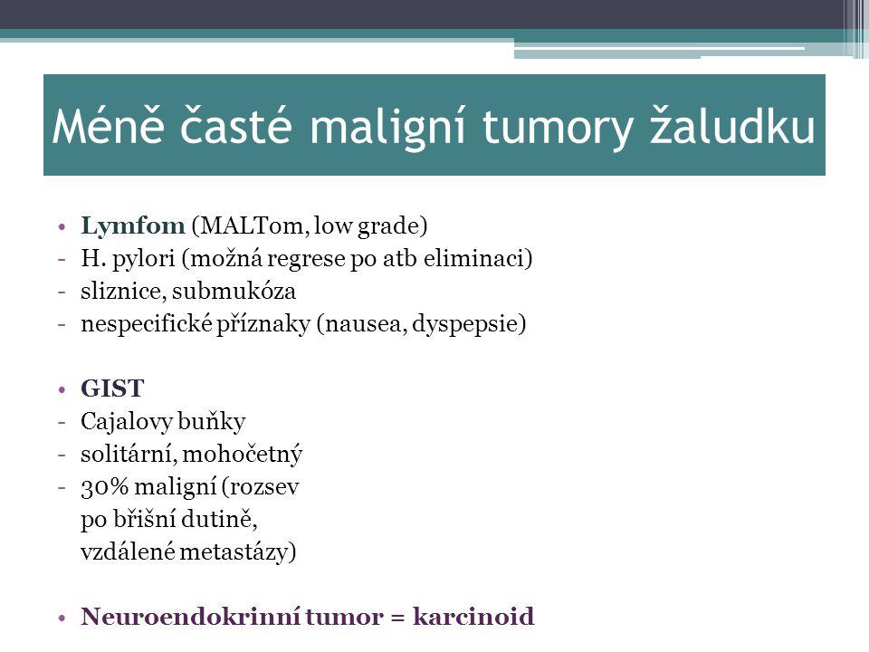 Méně časté maligní tumory žaludku