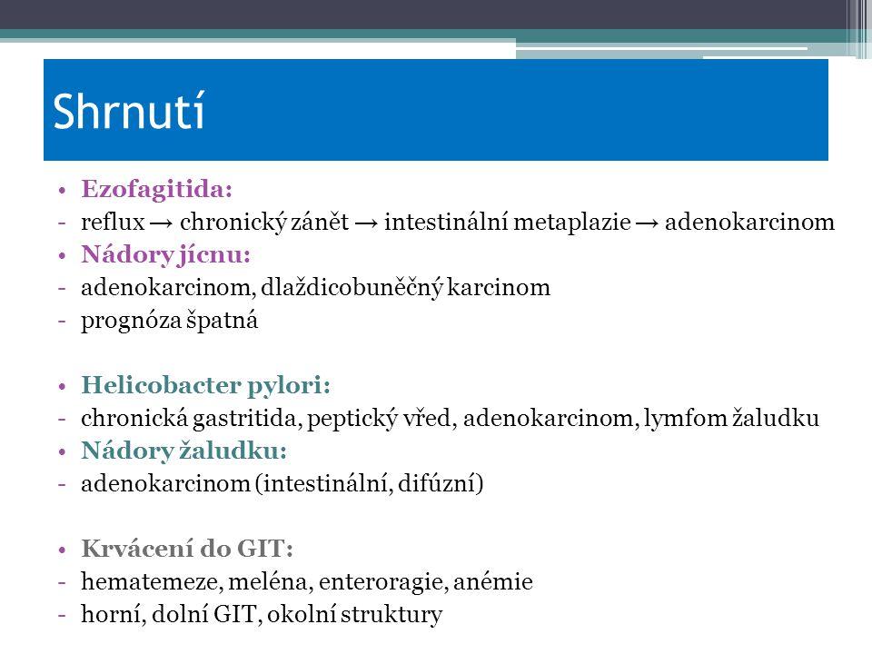 Shrnutí Ezofagitida: reflux → chronický zánět → intestinální metaplazie → adenokarcinom. Nádory jícnu: