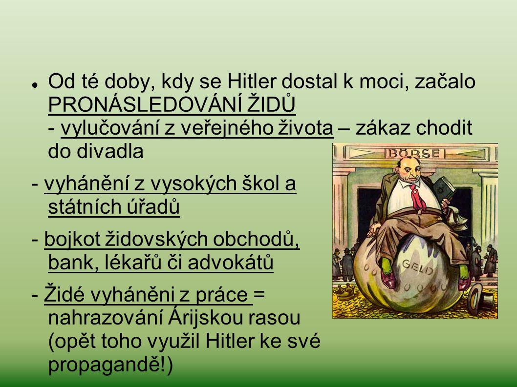 Od té doby, kdy se Hitler dostal k moci, začalo PRONÁSLEDOVÁNÍ ŽIDŮ - vylučování z veřejného života – zákaz chodit do divadla