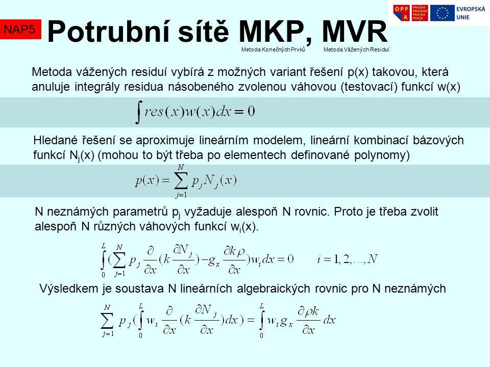 Potrubní sítě MKP, MVR NAP5