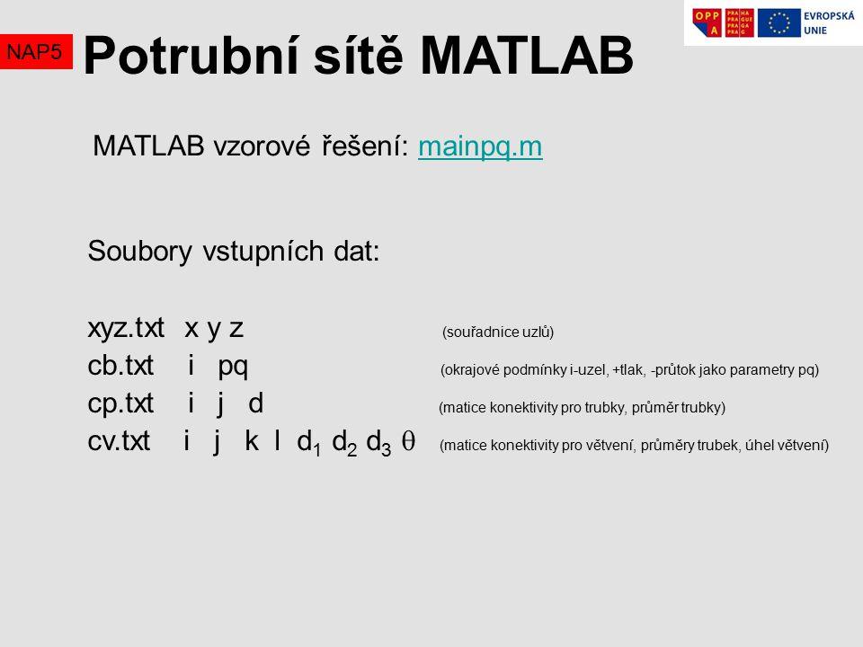 Potrubní sítě MATLAB MATLAB vzorové řešení: mainpq.m