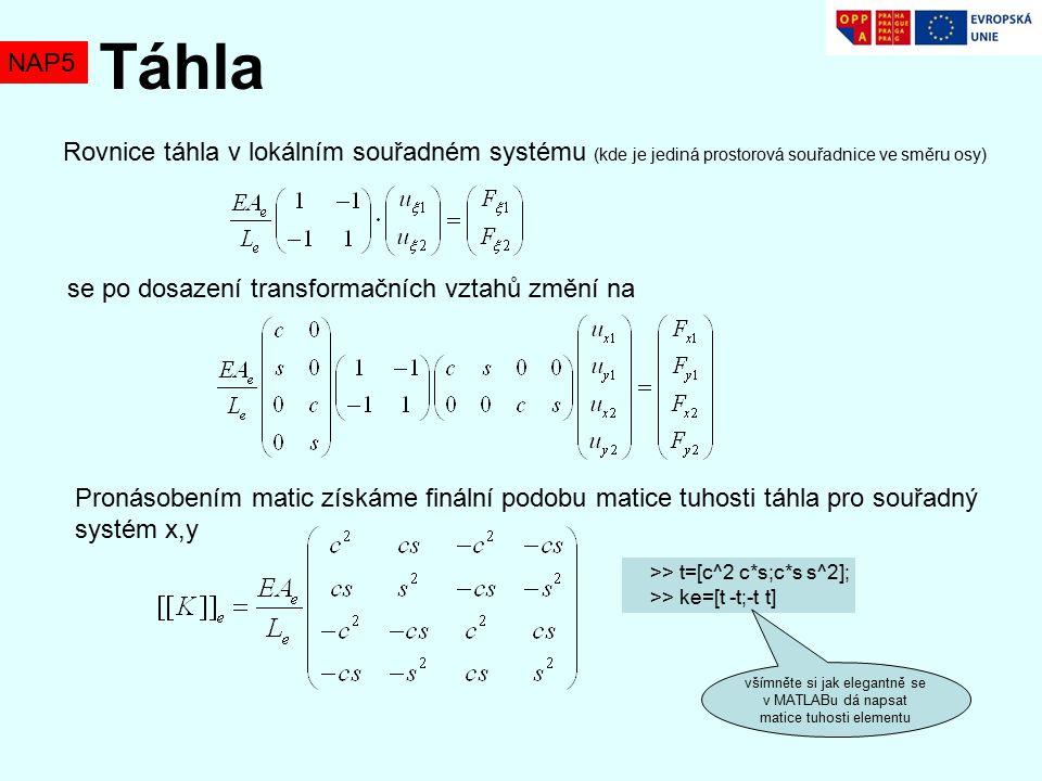 Táhla NAP5. Rovnice táhla v lokálním souřadném systému (kde je jediná prostorová souřadnice ve směru osy)
