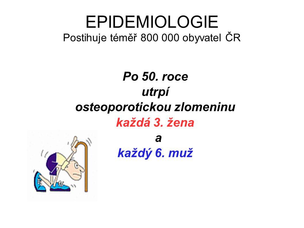 EPIDEMIOLOGIE Postihuje téměř 800 000 obyvatel ČR