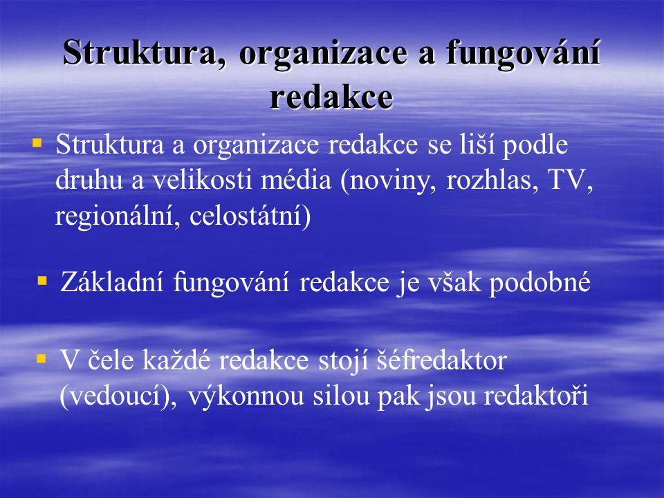 Struktura, organizace a fungování redakce