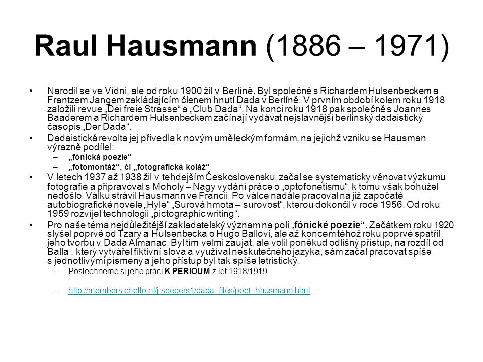 Raul Hausmann (1886 – 1971)
