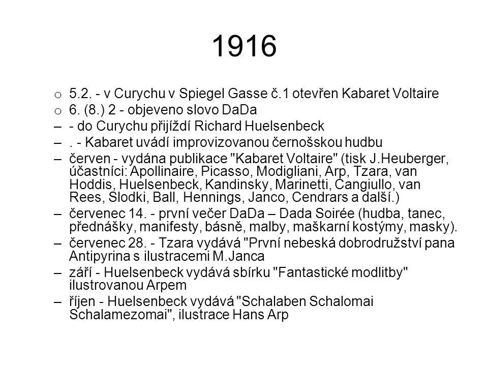 1916 5.2. - v Curychu v Spiegel Gasse č.1 otevřen Kabaret Voltaire