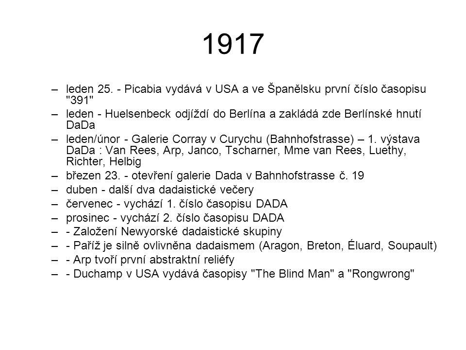 1917 leden 25. - Picabia vydává v USA a ve Španělsku první číslo časopisu 391