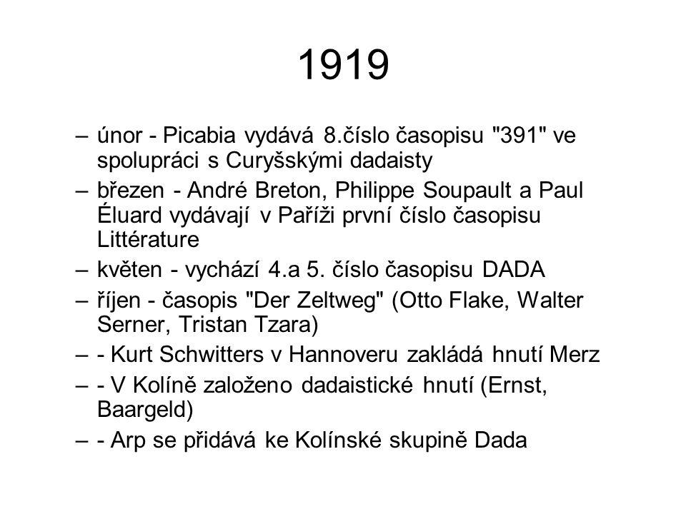 1919 únor - Picabia vydává 8.číslo časopisu 391 ve spolupráci s Curyšskými dadaisty.