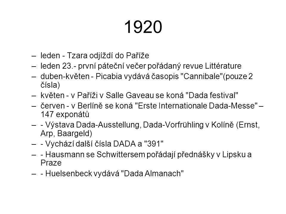 1920 leden - Tzara odjíždí do Paříže