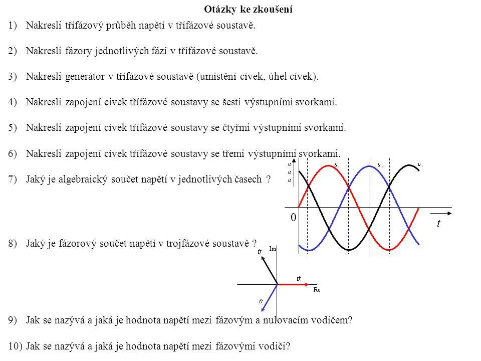 Otázky ke zkoušení Nakresli třífázový průběh napětí v třífázové soustavě. Nakresli fázory jednotlivých fází v třífázové soustavě.