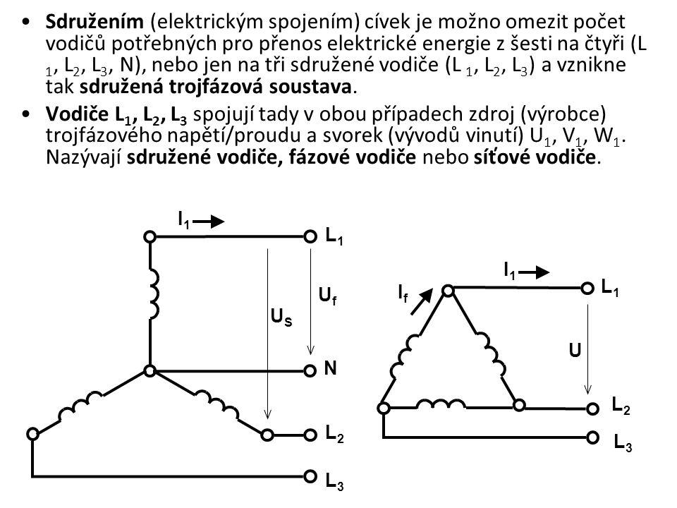 Sdružením (elektrickým spojením) cívek je možno omezit počet vodičů potřebných pro přenos elektrické energie z šesti na čtyři (L 1, L2, L3, N), nebo jen na tři sdružené vodiče (L 1, L2, L3) a vznikne tak sdružená trojfázová soustava.