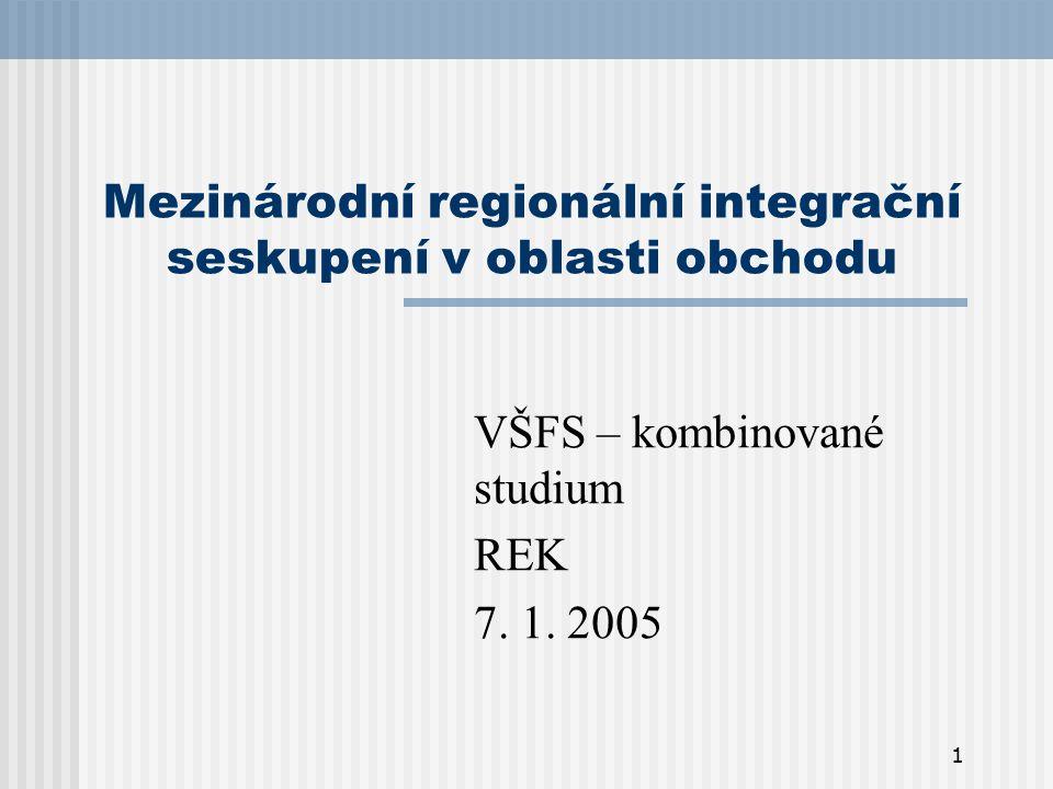 Mezinárodní regionální integrační seskupení v oblasti obchodu