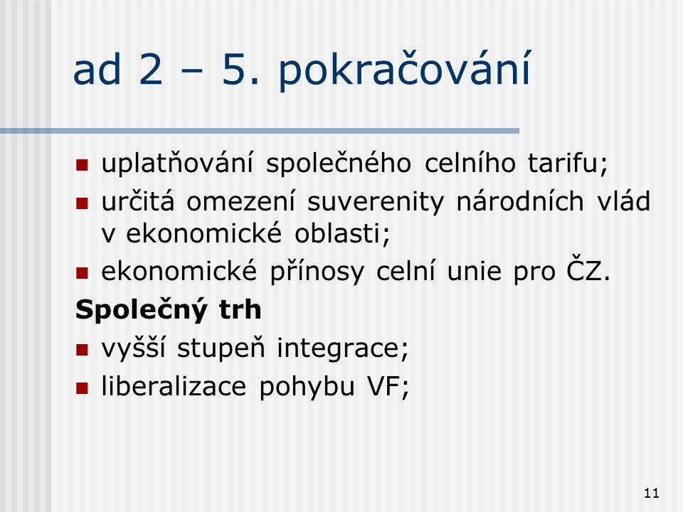 ad 2 – 5. pokračování uplatňování společného celního tarifu;