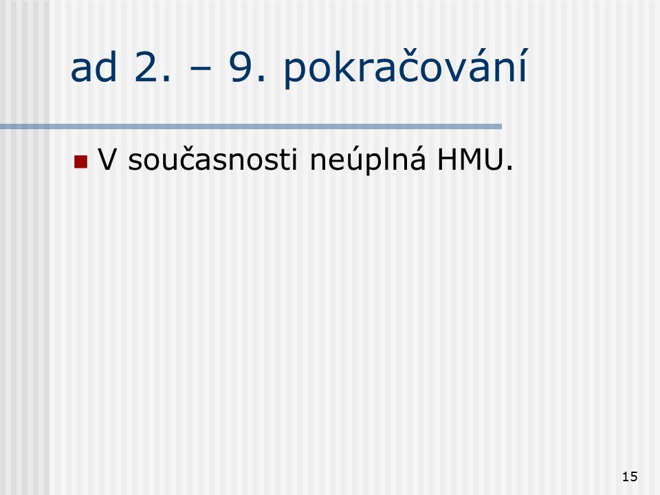 ad 2. – 9. pokračování V současnosti neúplná HMU.