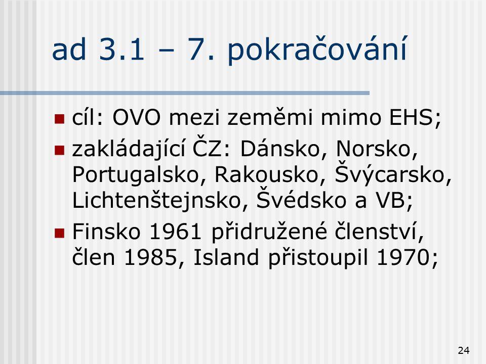 ad 3.1 – 7. pokračování cíl: OVO mezi zeměmi mimo EHS;