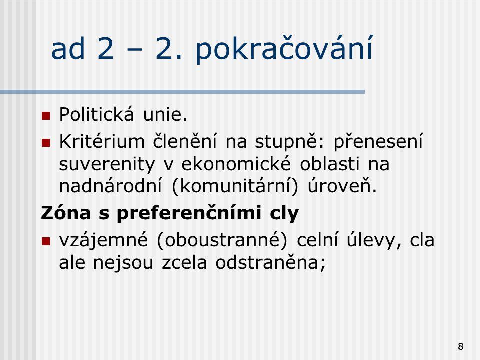 ad 2 – 2. pokračování Politická unie.