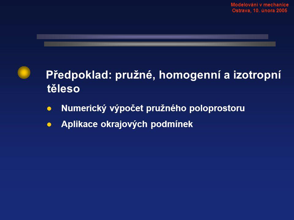 Předpoklad: pružné, homogenní a izotropní