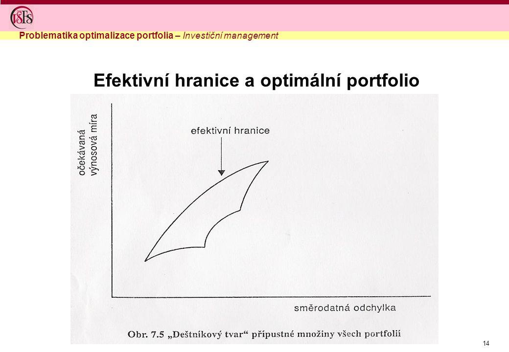 Efektivní hranice a optimální portfolio