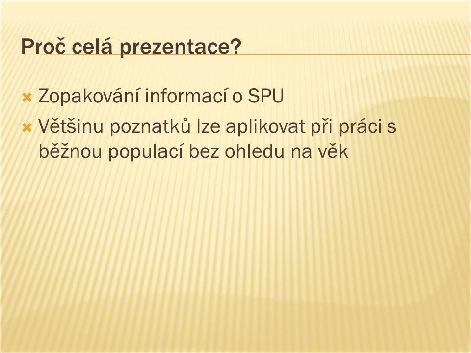 Proč celá prezentace Zopakování informací o SPU