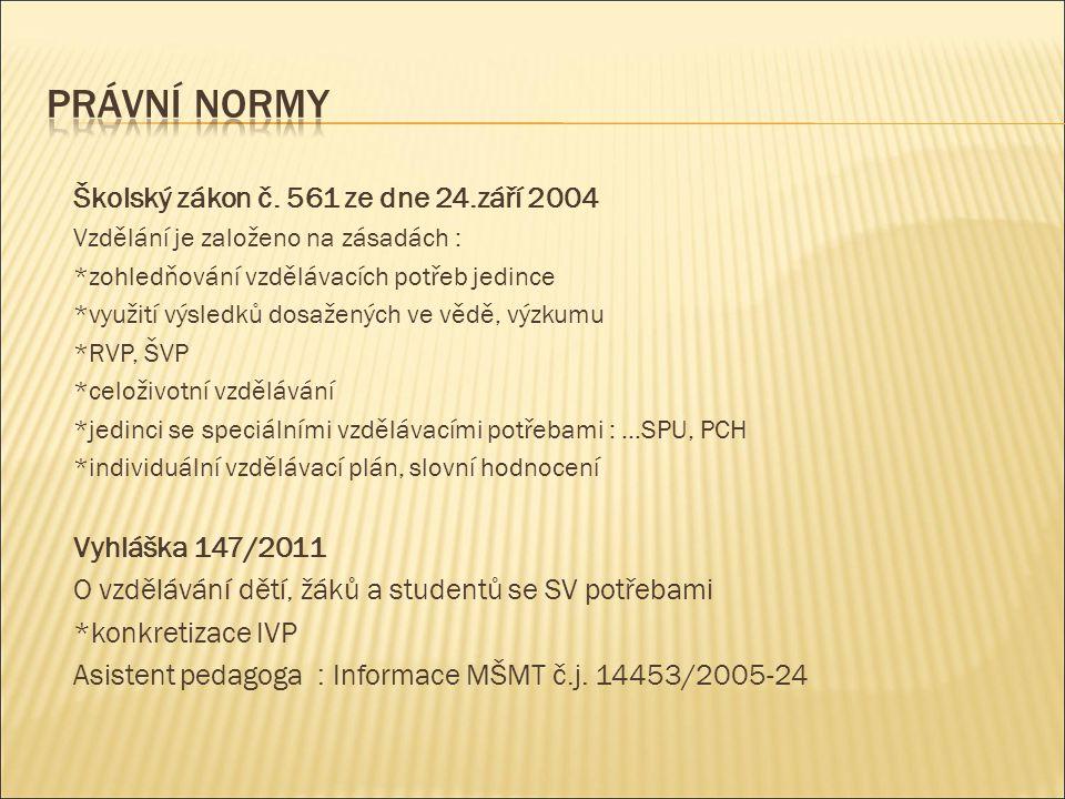 Právní normy Školský zákon č. 561 ze dne 24.září 2004